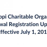 Mississippi Charitable Organization Renewal Registration Update-                      Effective July 1, 2016